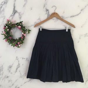 J Crew Linen Pleated Skirt in Navy Blue